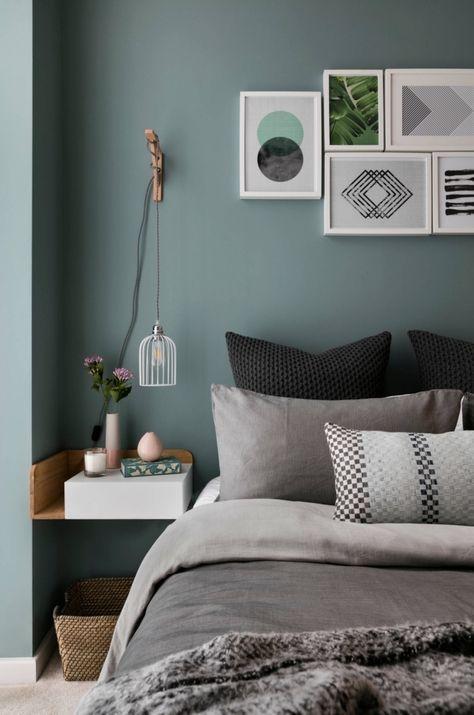 Coloris Chambre Adulte Nuance De Vert, Exemple De Peinture Vert De Gris  Dans Une Chambre