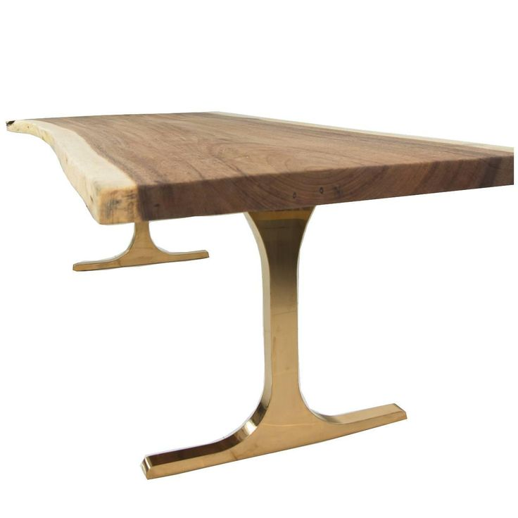 Eco Slab Dining Table with Copper T-Legs | From a unique collection of antique and modern dining room tables at https://www.1stdibs.com/furniture/tables/dining-room-tables/
