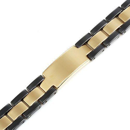 R&B Bijoux - Bracelet Homme - Gourmette Masculine - Tungstène (Or, Noir): Amazon.fr: Bijoux