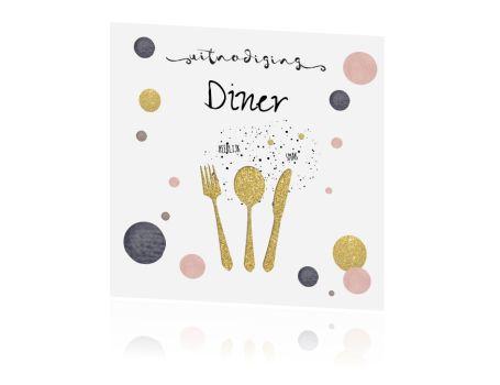 Leuke uitnodiging kaart diner etentje met gouden bestek en confetti. Met mooie roze en paarse elementen en verfspatten. (5261)