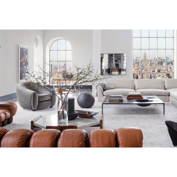 Moses Nadel Black Leather Ottoman As Seen In New York Designer