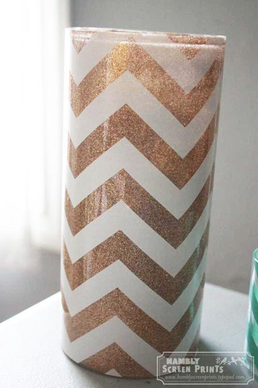 glitter chevron vase tutorial