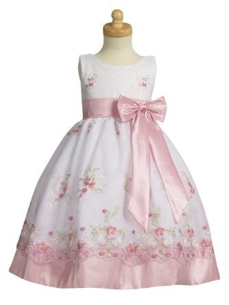 Amazon.com: White Organza Easter Dress with Pink Embroidery and Pink Taffeta Waistband, Sash, and Bow: Clothing