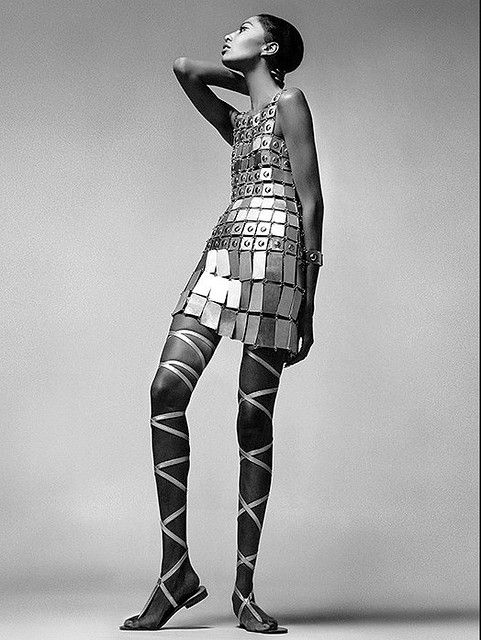Donyale Luna photographed by Richard Avedon for Vogue, December 1966. Dress by Paco Rabanne.
