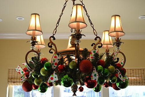 A Whole Bunch of Christmas Chandelier Decorating Ideas - Christmas Decorating -Christmas Wreaths, Dining Room, Christmas Decor Ideas, Christmas Decorations, Decorating Ideas, Whimsical Christmas, Chandeliers Decor, Christmas Chandeliers, Christmas Ideas