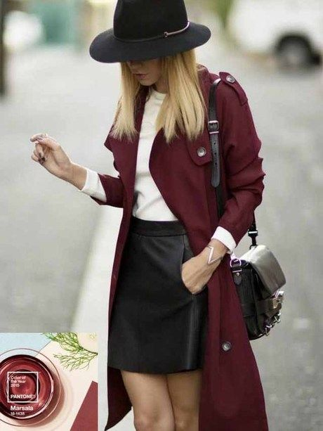 Trench Bordeaux + jupe cuir
