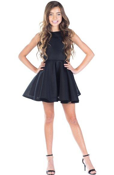 Miss Behave 'Mary Jane' Perforated Skater Dress (Big Girls) available at #Nordstrom