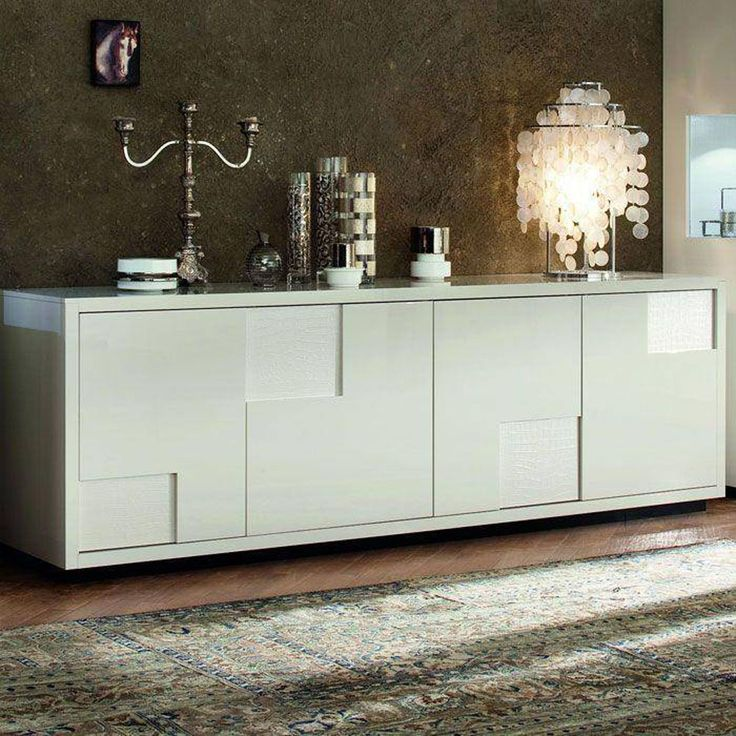 Love the modern look of a buffet instead of a hutch.