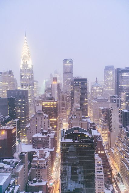 NYC. Midtown Manhattan Skyline in the Snow, looking West