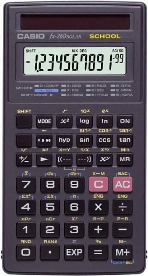 Casio Scientific Solar Calculator for School Algebra Trig Statistics Case Black #Casio