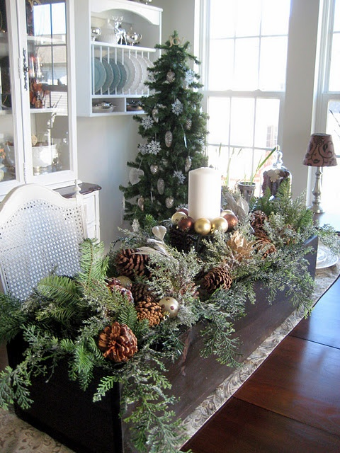 Christmas centerpiece. Going to have to do this when i have my harvest table next winter