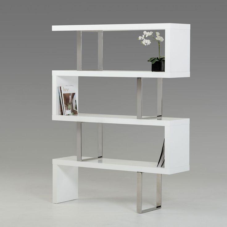 Modrest Maze Modern High Gloss Bookcase // White Sculptural Bookcase