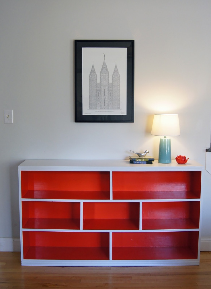 Thrifted bookcase with verticals added, then painted. So much style!: Grey Interiors, Painted Bookcases, Bookshelves, Idea, Color, Paintings Bookcases, Orange Bookca, Furniture, Sutton Grace