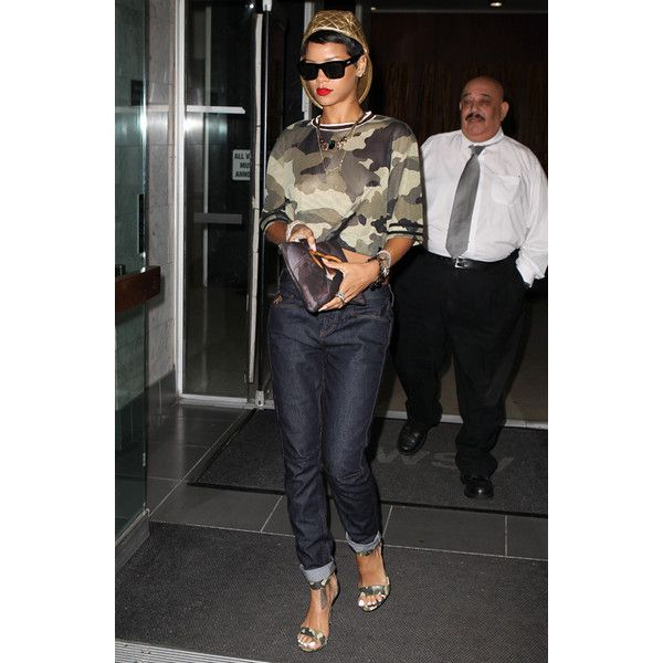 Rihanna Models Sexy Camouflage Pieces From Her Latest River Island... ❤ liked on Polyvore featuring rihanna, celebs and river island