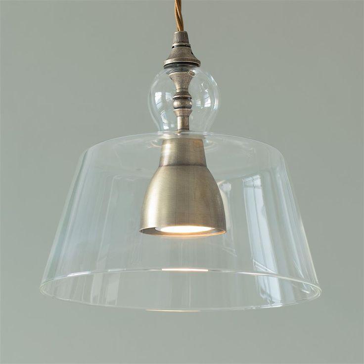 Lovell glass pendant light in antiqued brass