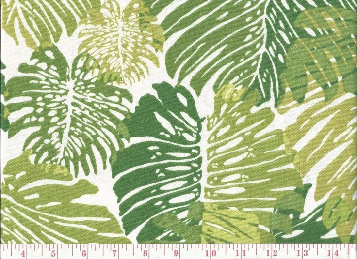 Duralee Tropical Leaf Print Indoor Outdoor Upholstery Fabric Monstera Green  BTY