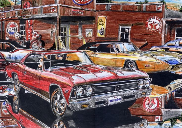 O Meara Ford >> At The Gas Station by WH2007.deviantart.com on @deviantART   Art of Muscle Cars   Pinterest   Cars