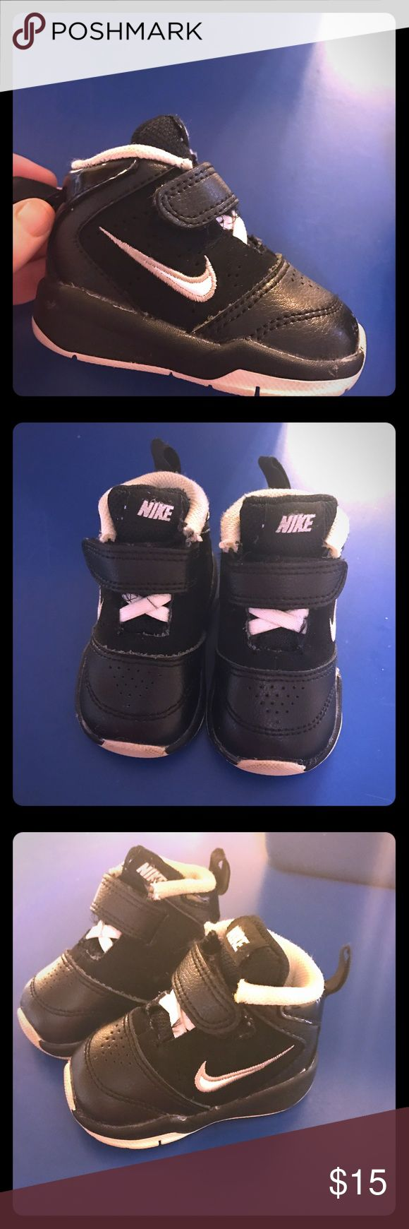 Baby Boy Nike high tops Baby Boy Nike high tops. Black and White size 2c. Plenty of life left in them! Nike Shoes Sneakers