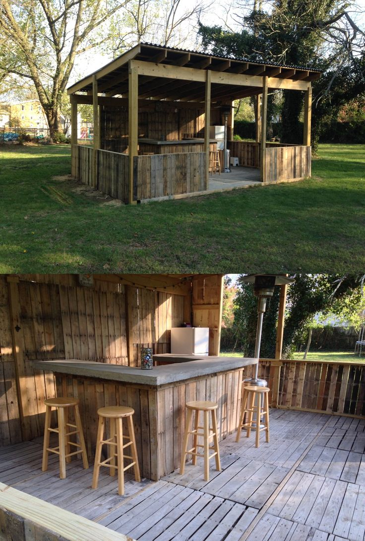 Outdoor bar. Made from palettes. Concrete bar top.. this is sweeeeeet lookn'!