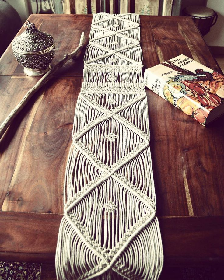 """My first macrame table runner made with fine cotton twine. It can also be hung on the wall (more pics to come!) I love how macrame can be modern,…"""