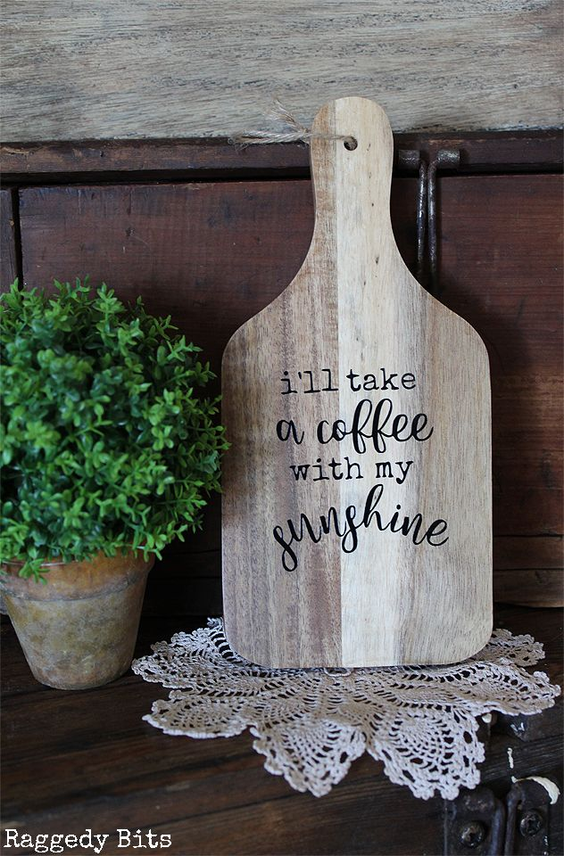 Greet each day with this cheery Rustic Wooden Paddle that reads I'll Take a Coffee with my Sunshine. Click on the picture to find out more details | www.raggedy-bits.com | #raggedybits #wooden #paddle #farmhouse #rustic #homedecor #shop