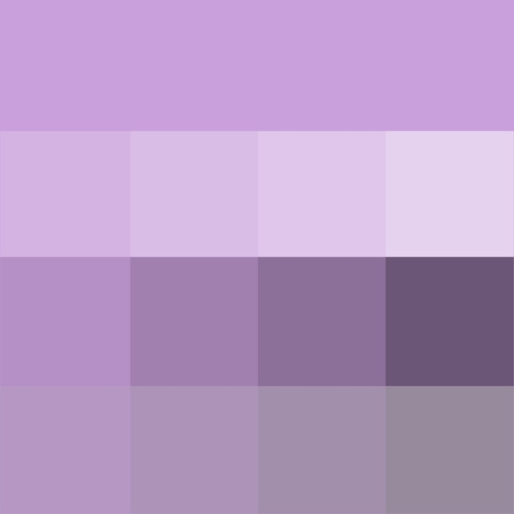 #Wisteria shades (Hue) ( pure color ) with Tints (hue