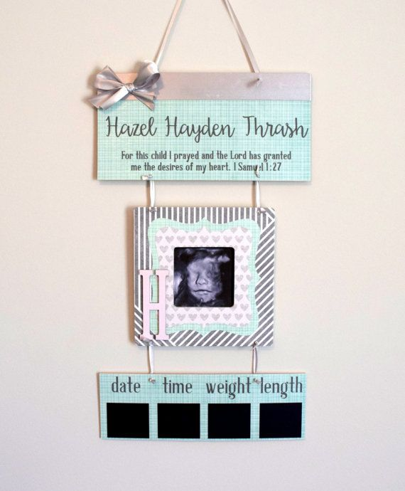 Welcome Baby Girl Mint Grey & White Hospital Door by OliveYewToo