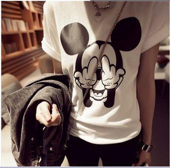 EAST KNITTING New  Woman t shirt Summer Short Sleeve Cotton Cartoon Mickey Mouse O-neck tops http://tinyurl.com/ngzy4ue #womenfashion #top #tshirt #fashiontshirt #cartoon #mickeymouse