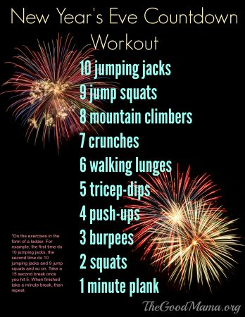 New Year's Eve Countdown Workout- FREE Printable