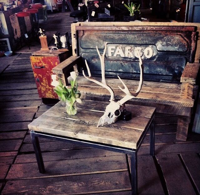 Repurposed tailgate bench and repurposed barn wood coffee table with industrial metal base #yyc #repurposedbench #salvage RECLAIMED TRADING CO. 845 - 24 Ave SE Calgary, Alberta