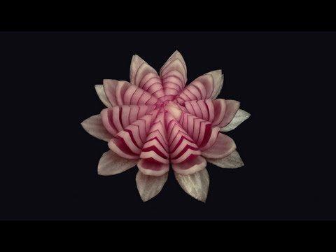 ▶ Red Onion Lotus - Beginner's Lesson 11 by Mutita Art of Fruit & Vegetable Carving - YouTube