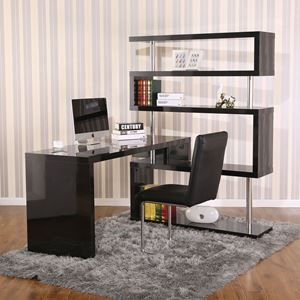 Picture of Rotating Home Office Corner Desk and Shelf Combo Black