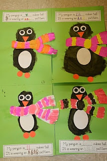 Great primary math activity! I love this blog! measure penguin and create pattern on scarf...love it!