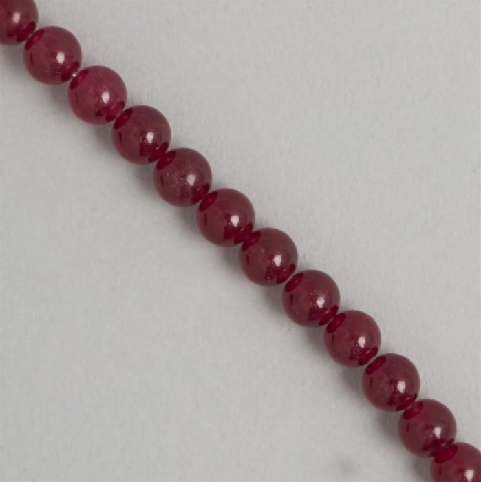 165cts Red Colour Dyed Quartz Plain Rounds Approx 8mm, 36cm Strand.