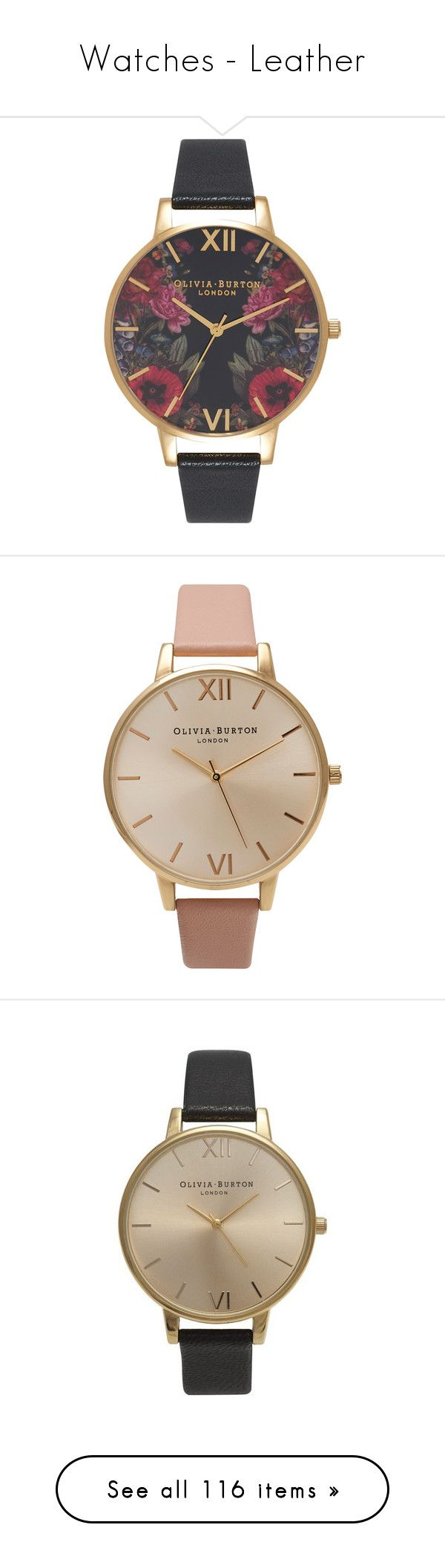 """""""Watches - Leather"""" by giovanna1995 ❤ liked on Polyvore featuring gold, flower, Leather, watch, butterfly, jewelry, watches, pin jewelry, roman numeral jewelry and leather strap watches"""