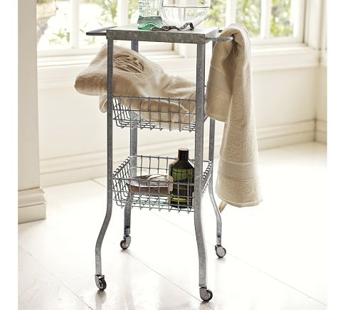 b: Side Tables, Galvanized Metals, Small Bathroom Storage, Laundry Rooms, Floors Storage, Accent Tables, Small Houses, Metals Floors, Pottery Barns