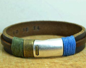 Personalisierte Lederarmband Herren Mann Armband von echoleathers