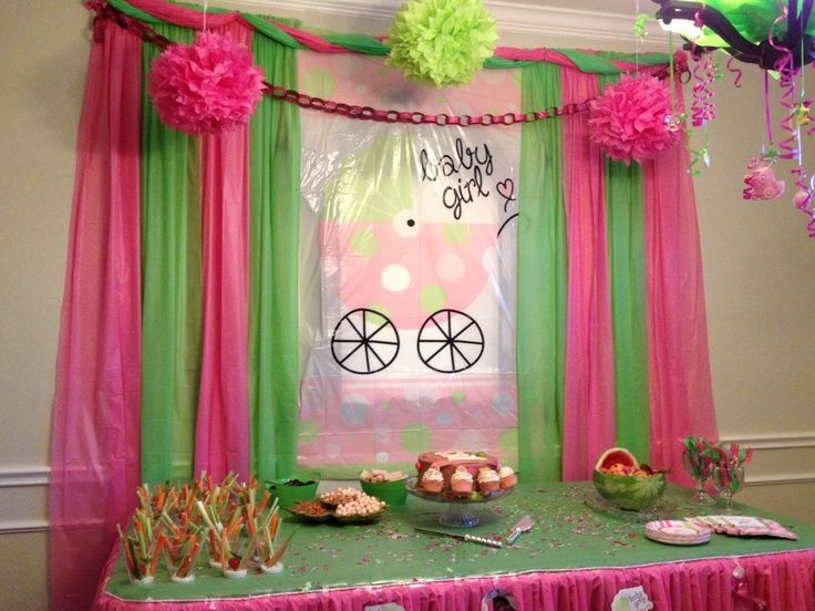 Attractive Pink And Green Baby Shower Decorations | Dollar Tree Baby Shower Decorations