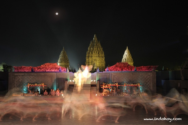 Prambanan temple as the background of Ramayana dance. The most magnificent backdrop we've seen on any live dance performances!   Yogyakarta.