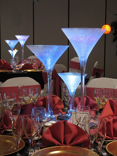 Club Martini Glass Centerpiece Club Martini Glass Centerpiece with LED Lighting
