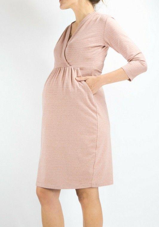44f55262e7ff0 Robe de grossesse ultra-confortable et féminine ! Un tissu extrêmement doux rose  pâle à