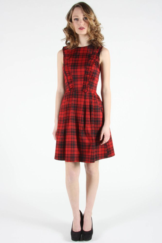 Ruby Dress by Birds of North America.  Plaid dress with front ruffle detail.
