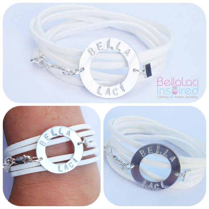 White Faux Suede Handstamped Bracelet. Sterling Silver Love Circle pendant with clasp.
