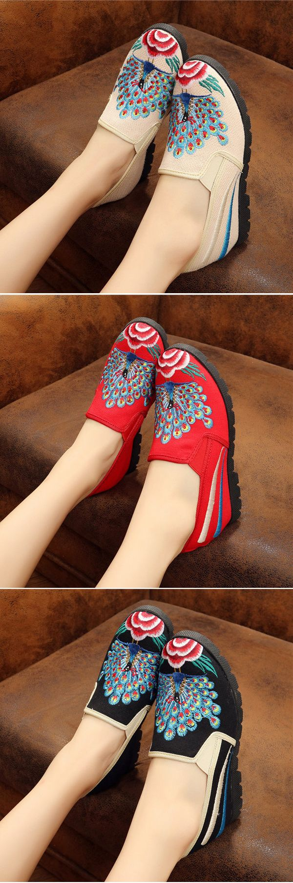 US$18.91 Elegant Ethnic Style Vintage Embroidered Increased Within Shoes