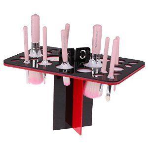 LemonBest® 26 Holes #Makeup #Brush Holder #Organizer #Folding #Collapsible #AirDryingTower (#Black & #Red): Amazon.co.uk: Beauty