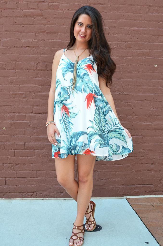 Tropical Palm Dress • $38 • Groovys.com •   Vacation dress, palm print, tropical dress