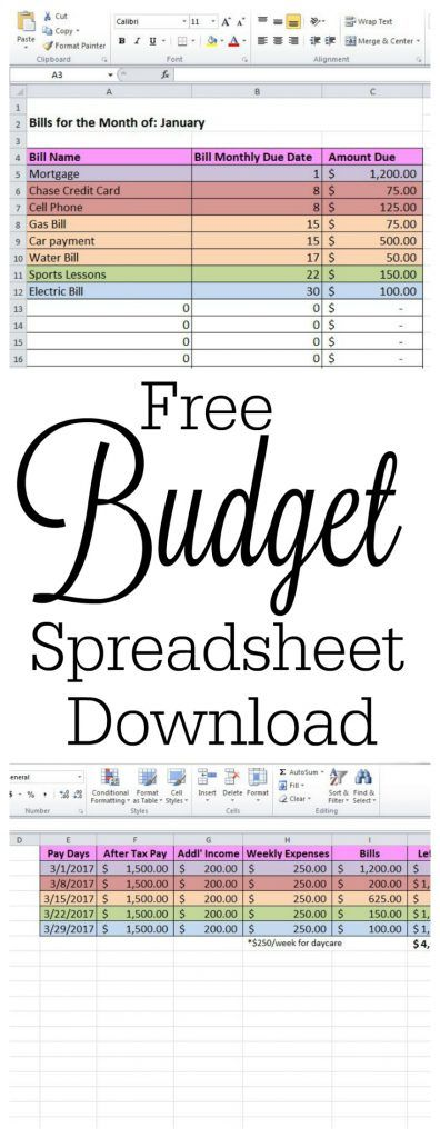 Download Your Own Free Budget Spreadsheet Template And Get Tips On How To  Keep Track Of  Bills Template Free