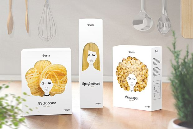Well, well. Isn't this clever? Pasta packaging that makes the pasta inside look like ladies' hair.