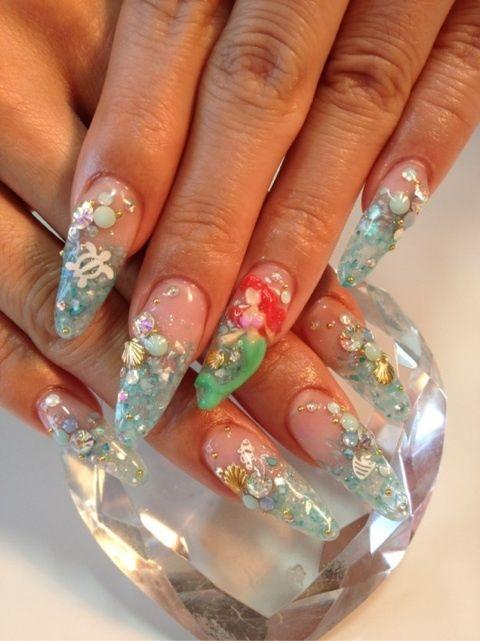 3d nail art, #acrylic #littldmermaid #sculpture