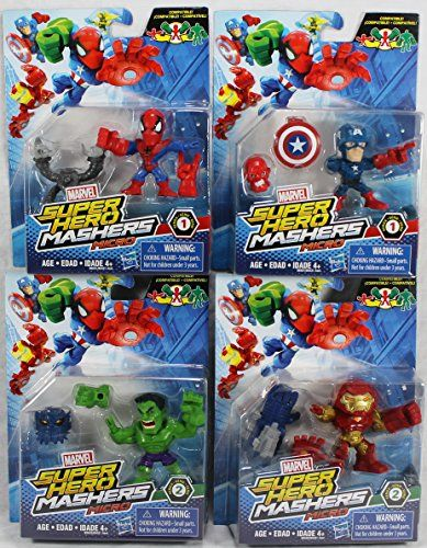 Set of 4 Marvel Super Hero Mashers Micro Action Figures  Captain America SpiderMan Hulk Hulk Buster ** To view further for this item, visit the image link.